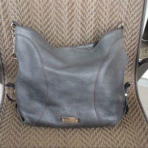 Brahmin Gray Leather Shoulder Hobo Bag